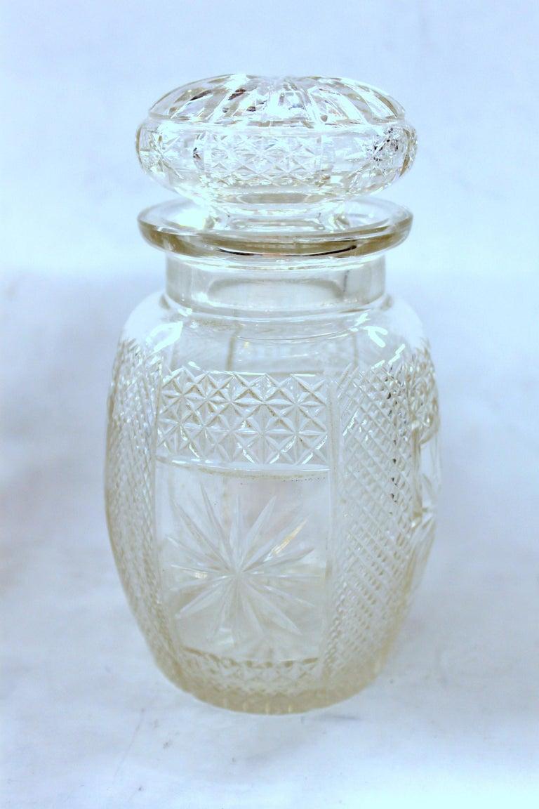 Antique English Silver Plate Hand-Cut Crystal Barrel Shape Double Jar Pickle Set For Sale 9