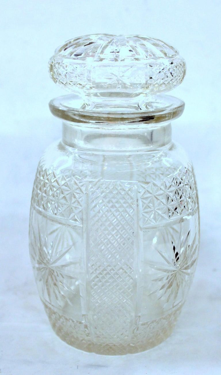 Antique English Silver Plate Hand-Cut Crystal Barrel Shape Double Jar Pickle Set For Sale 10