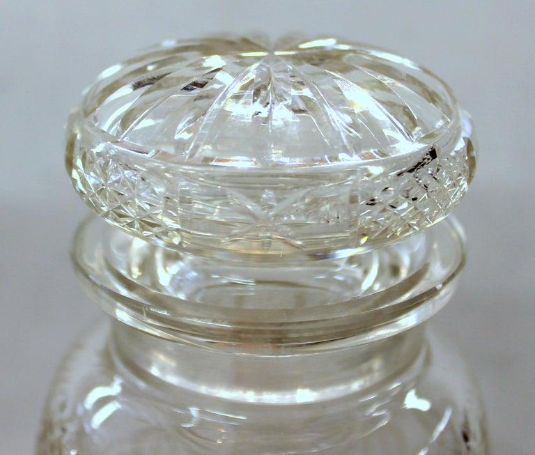 Antique English Silver Plate Hand-Cut Crystal Barrel Shape Double Jar Pickle Set For Sale 11