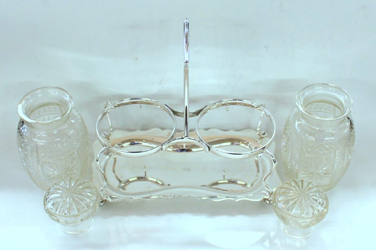 19th Century Antique English Silver Plate Hand-Cut Crystal Barrel Shape Double Jar Pickle Set For Sale