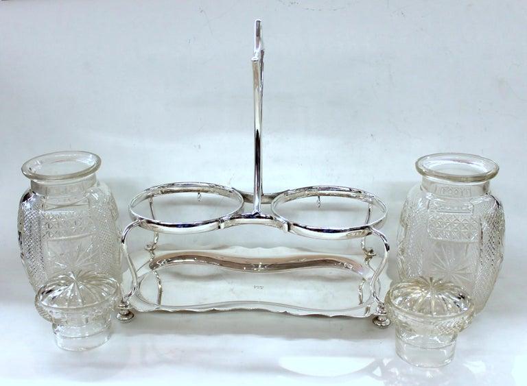 Antique English Silver Plate Hand-Cut Crystal Barrel Shape Double Jar Pickle Set For Sale 1