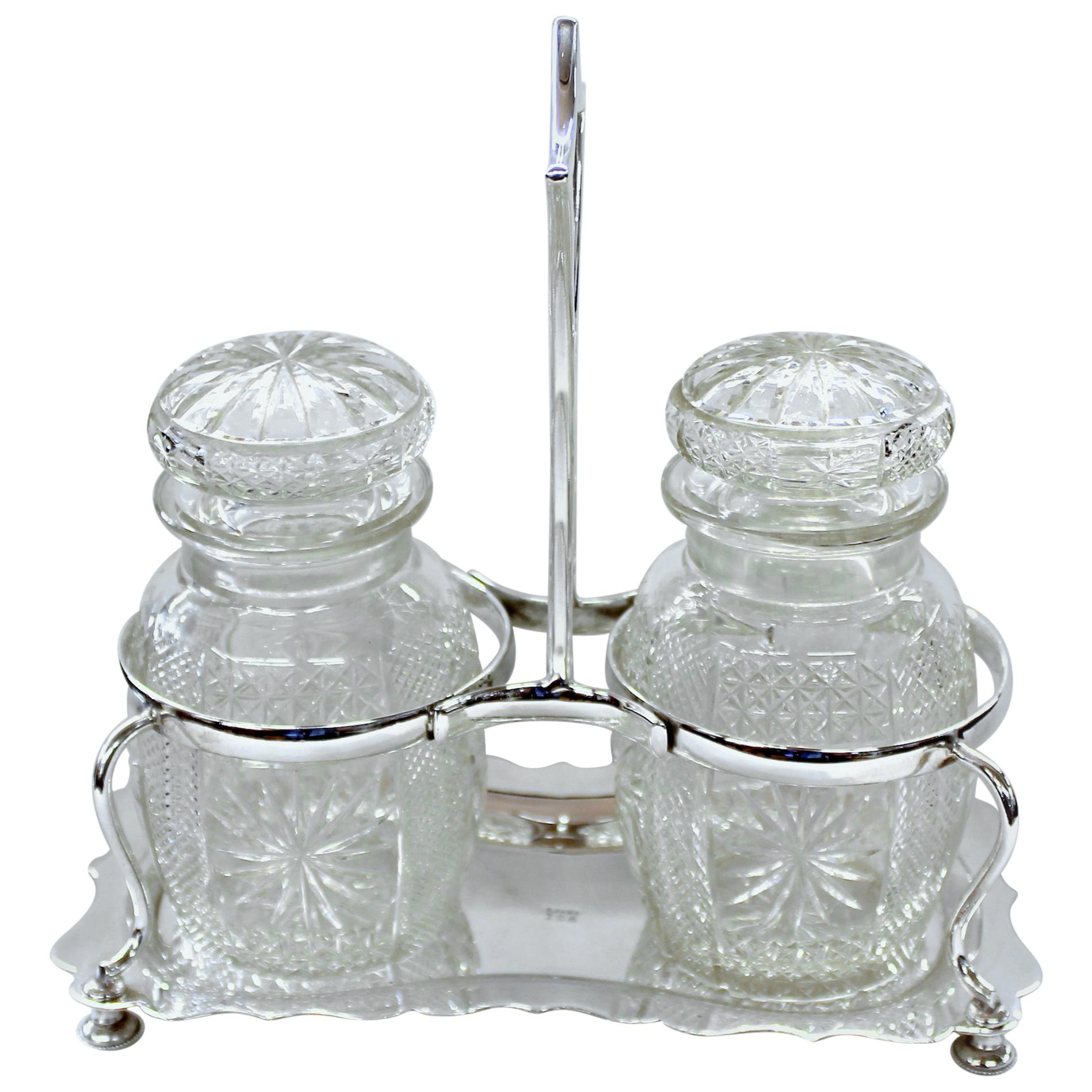 Antique English Silver Plate Hand-Cut Crystal Barrel Shape Double Jar Pickle Set