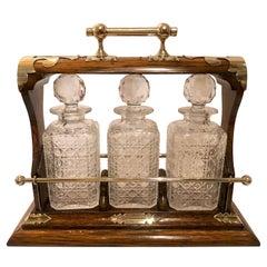 "Antique English Silver-Plate, Oak & Cut Crystal ""Drop Bar"" Tantalus, Circa 1880"