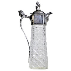 Antique English Silver Plated and Cut Crystal Claret Jug or Decanter