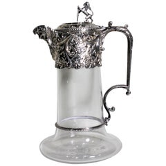 Antique English Silver Plated and Cut Glass Claret Jug or Decanter