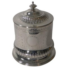 Antique English Silver Plated Biscuit Box by George Sissons, circa 1870