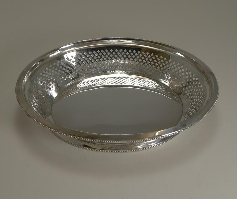 Late 19th Century Antique English Silver Plated Bread Basket by Atkin Brothers, Reg. 1873 For Sale