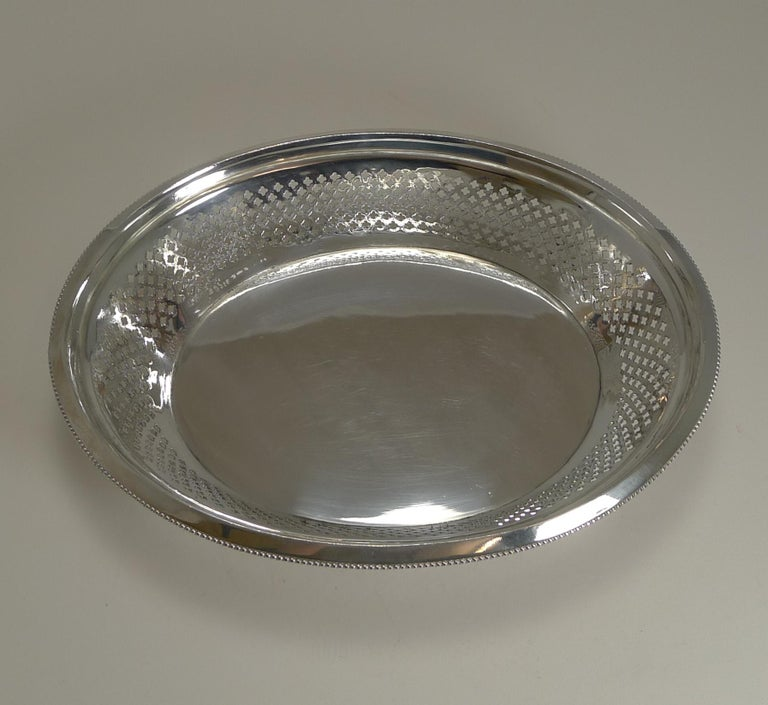 Antique English Silver Plated Bread Basket by Atkin Brothers, Reg. 1873 For Sale 2