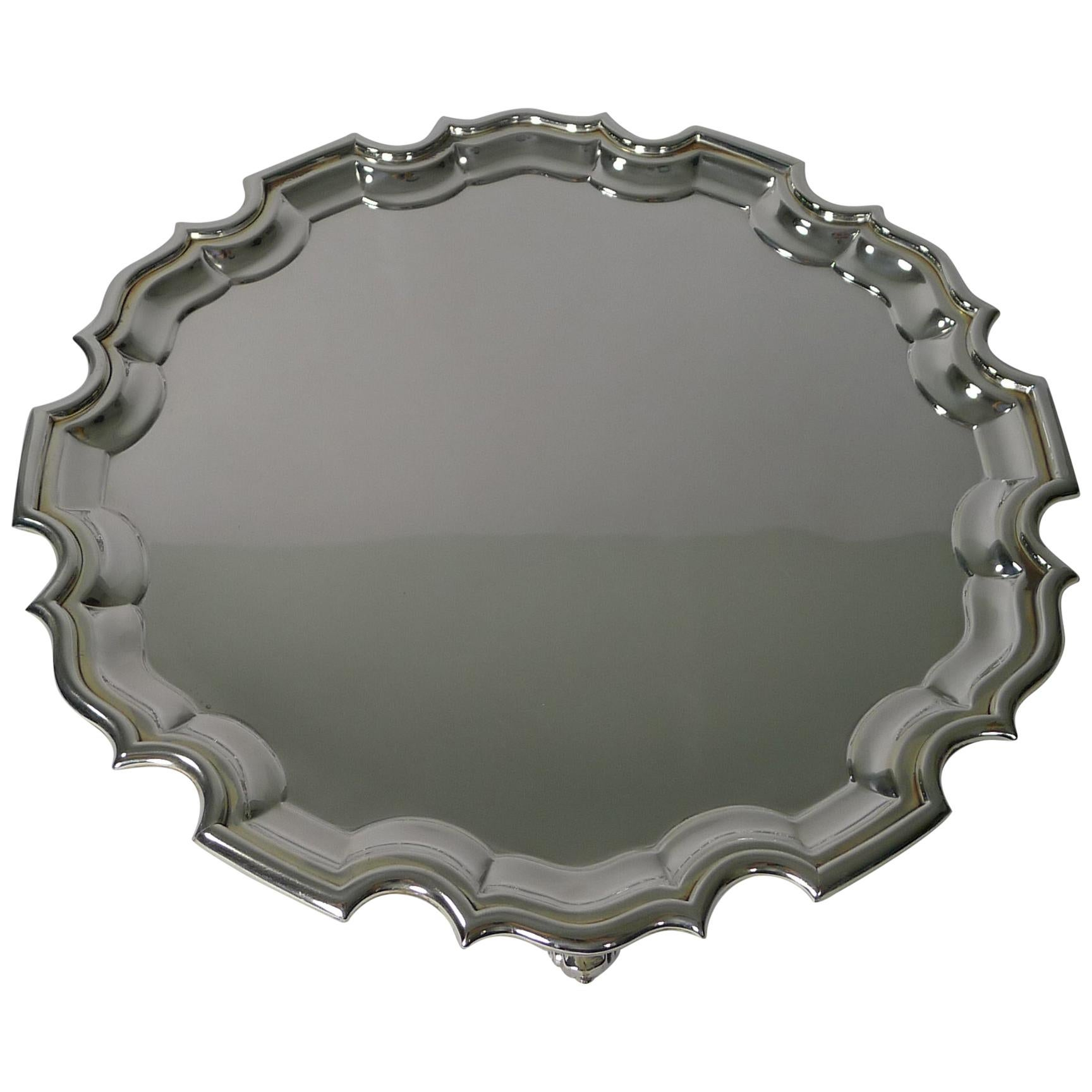 Antique English Silver Plated Cocktail or Drinks Tray / Salver, circa 1910