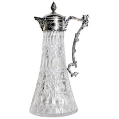 Antique English Silver Plated & Cut Crystal Claret Jug or Decanter