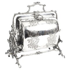 Antique English Silver Plated Folding Sweets Biscuit Box, 19th Century