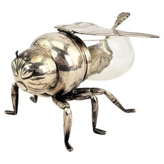 Antique English Silver Plated & Glass Figural Bee or Wasp Condiment or Honey Pot