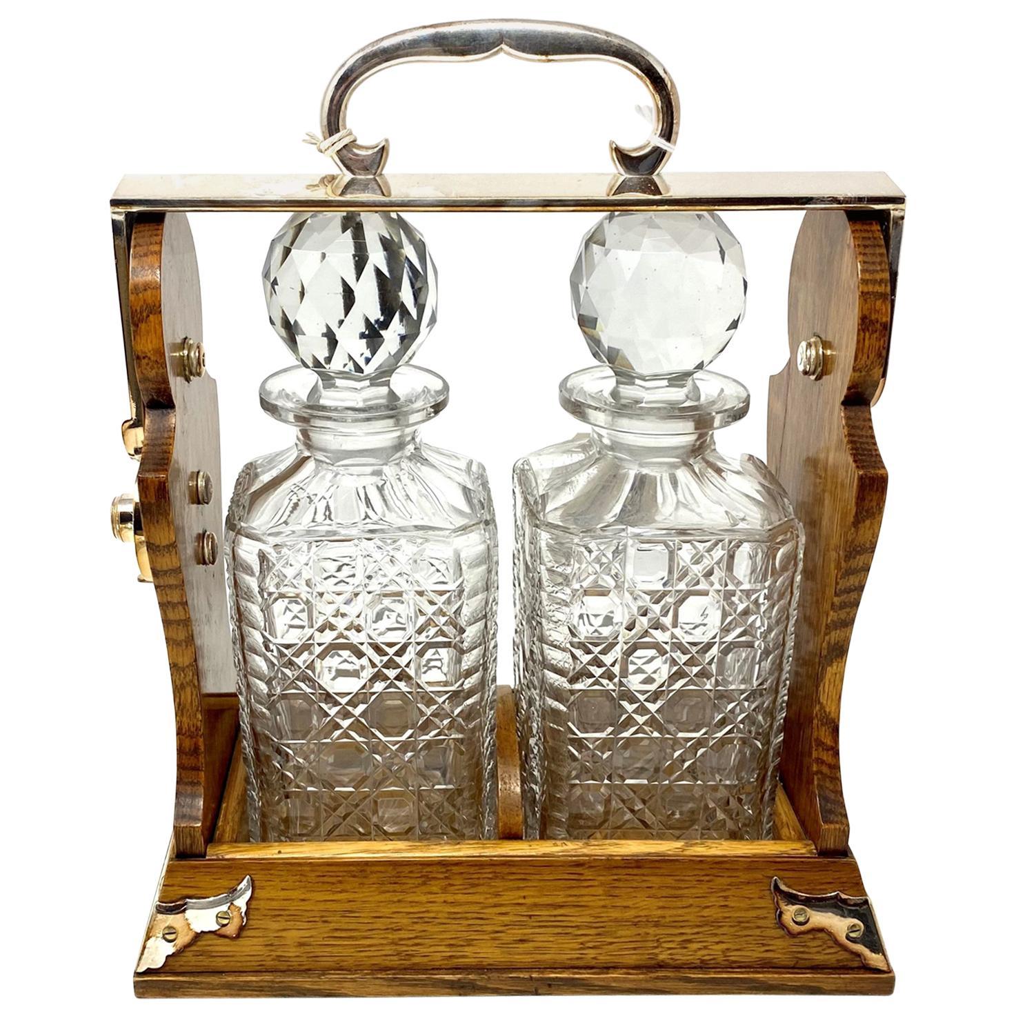 Antique English Silver Plated Golden Oak 2-Bottle Betjemann Tantalus, circa 1890