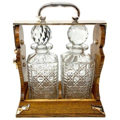 Antique English Silver Plated Golden Oak 2-Bottle Betjemann Tantalus, circa 1890