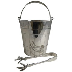 Antique English Silver Plated Ice Bucket / Pail and Tongs, circa 1900