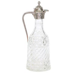 English Silver Plated Mounted / Cut Glass Claret Jug