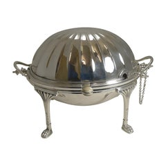 Antique English Silver Plated Revolving Breakfast / Serving Dish, Mappin & Webb