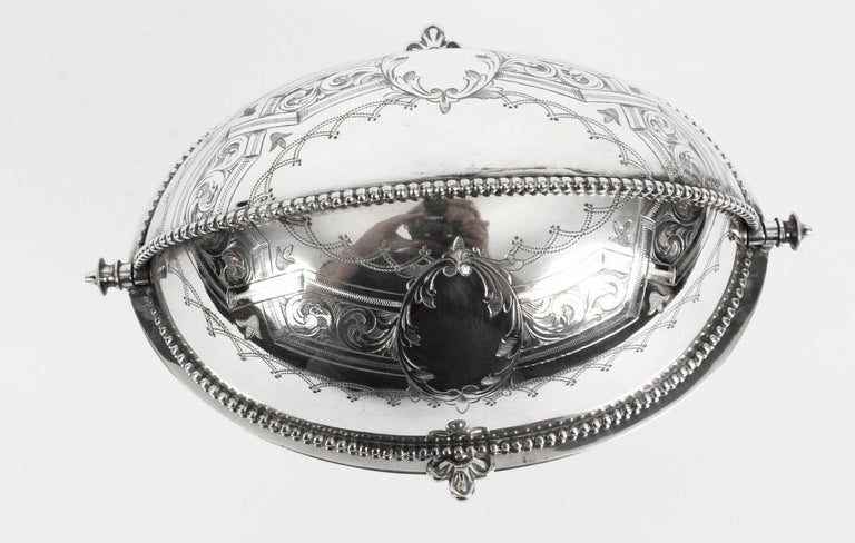 Antique English Silver Plated Roll Over Butter Dish, 19th Century For Sale 5
