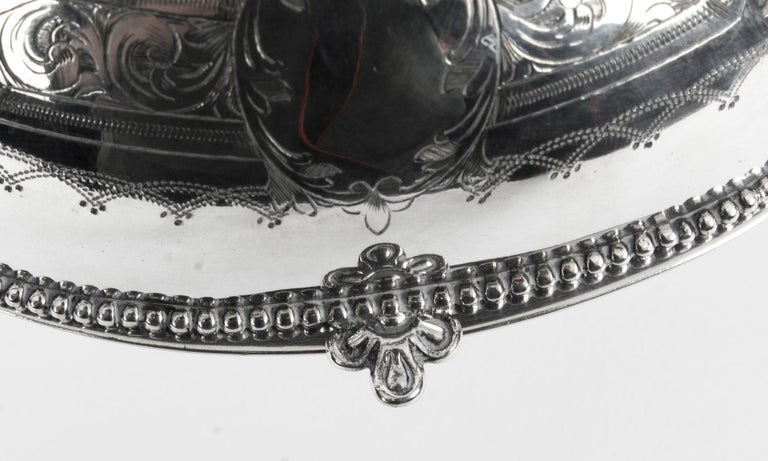 Antique English Silver Plated Roll Over Butter Dish, 19th Century For Sale 7