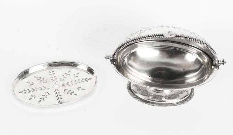 Antique English Silver Plated Roll Over Butter Dish, 19th Century For Sale 4