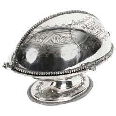 Antique English Silver Plated Roll Over Butter Dish, 19th Century