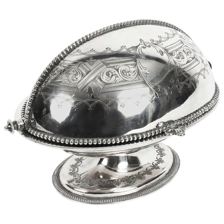Antique English Silver Plated Roll Over Butter Dish, 19th Century For Sale