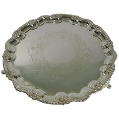 Antique English Silver Plated Salver or Tray by James Deakin, circa 1880