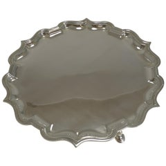 Antique English Silver Plated Salver / Tray by Elkington, 1911