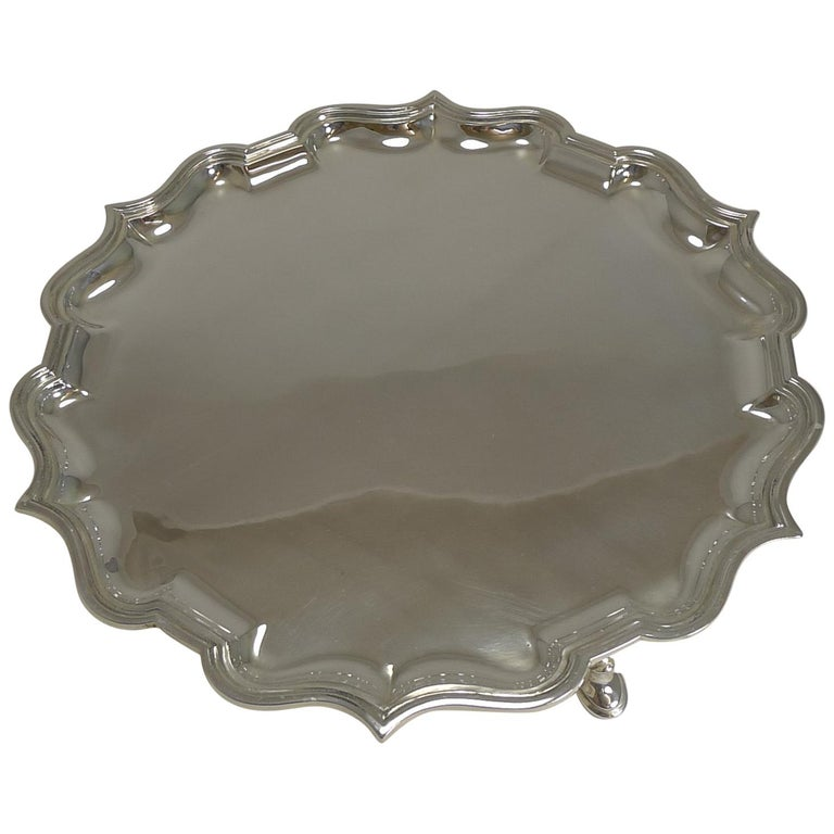 Antique English Silver Plated Salver / Tray by Elkington, 1911 For Sale