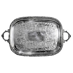 Antique English Silver Plated Serving Tray with Ornate Accents & Engraving
