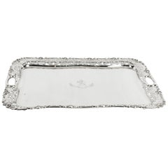 Antique English Silver Plated Twin Handled Tray, 19th Century