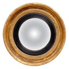 Antique English Small Regency Convex Mirror
