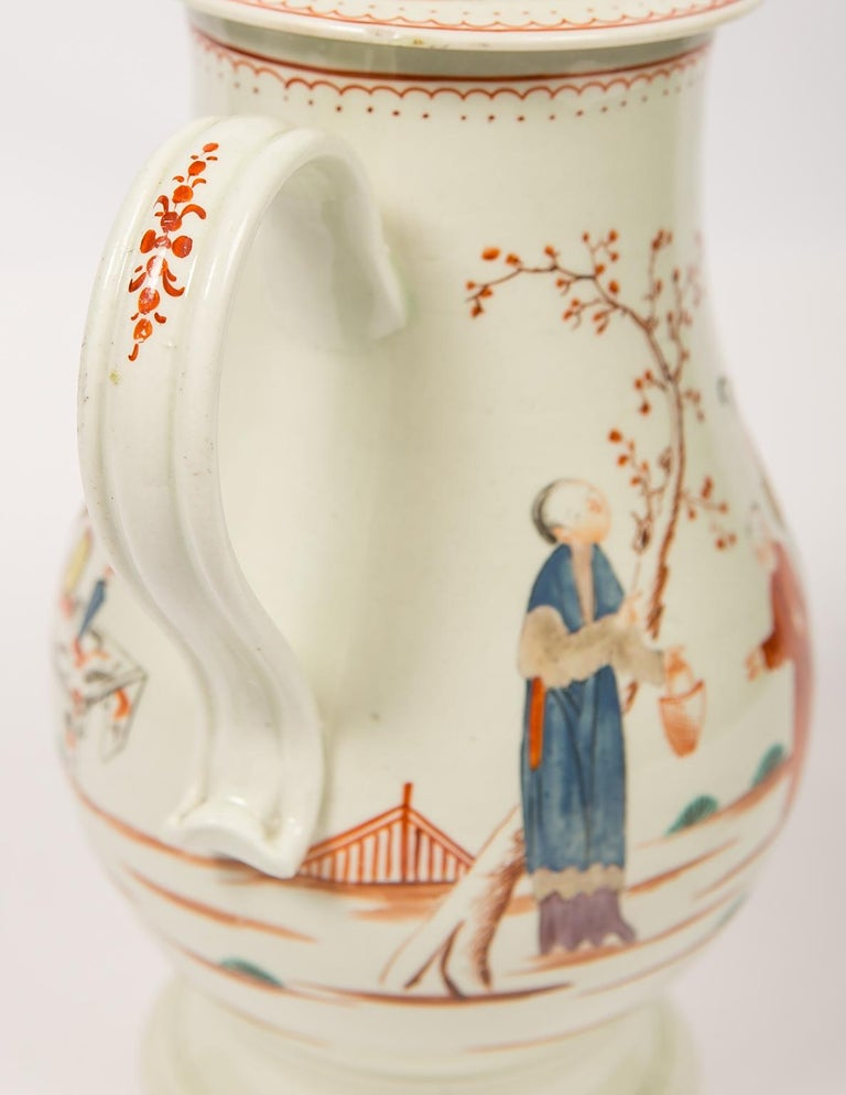 Chinoiserie Antique English Soft Paste Porcelain Liverpool Coffee Pot, 18th Century For Sale