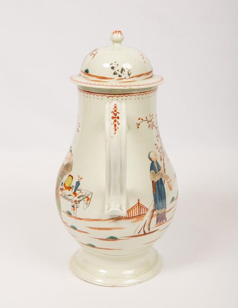 Antique English Soft Paste Porcelain Liverpool Coffee Pot, 18th Century For Sale 1