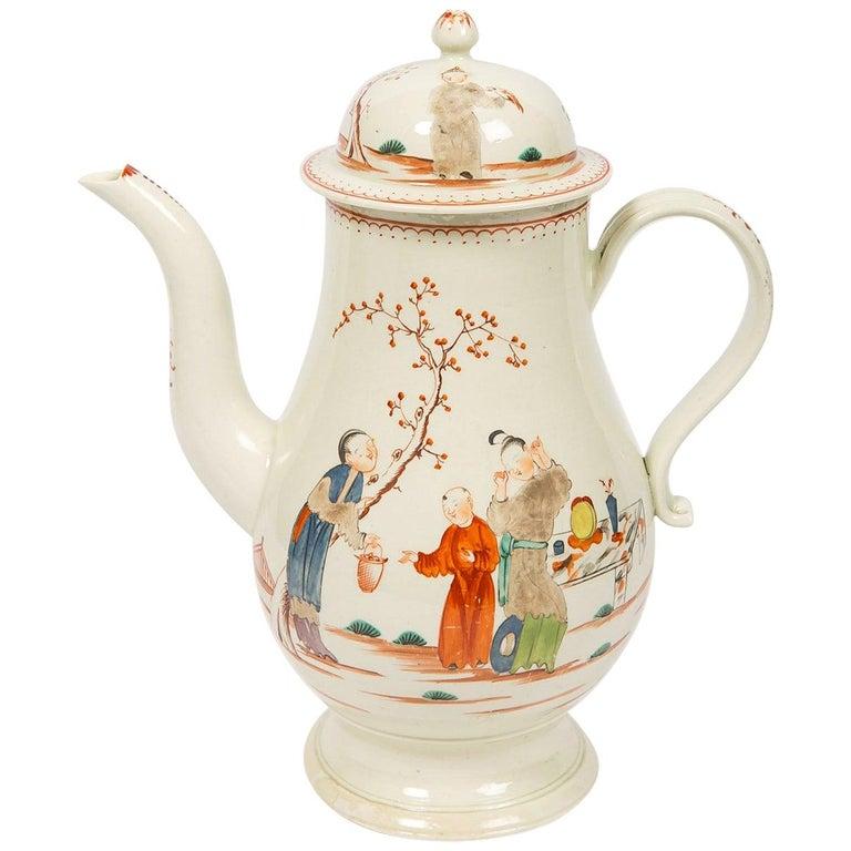 Antique English Soft Paste Porcelain Liverpool Coffee Pot, 18th Century For Sale