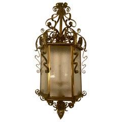 Antique English Solid Brass Gas-Light Era Lantern, circa 1890