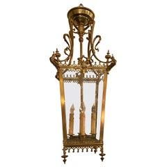 Antique English Solid Brass Hall Light, circa 1880-1890