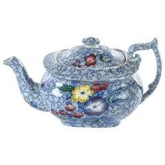 Antique English Spode Chintzware Teapot in Wildflower Blue, circa 1920