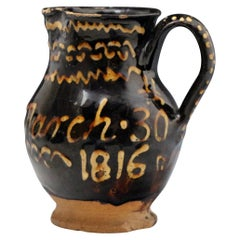 Antique English Staffordshire Earthenware Slip Decorated Pitcher Initialed, 1816