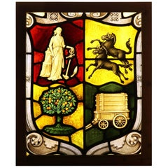 Antique English Stained Glass Panel