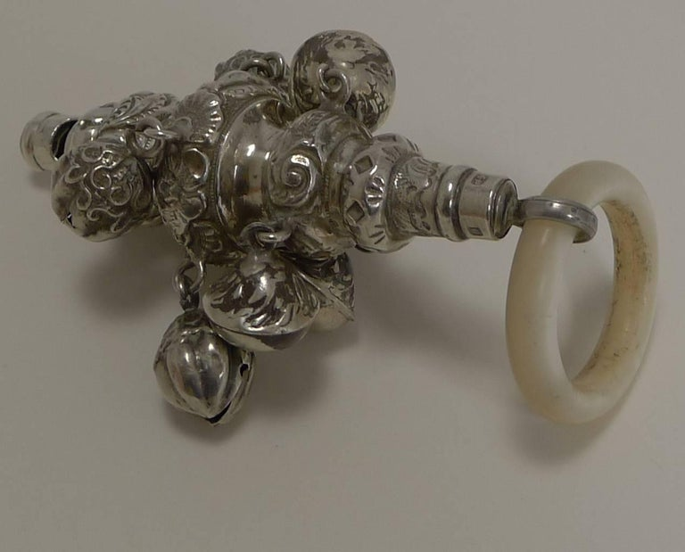 Late Victorian Antique English Sterling Silver and Mother-of-Pearl Baby Rattle, 1881 For Sale