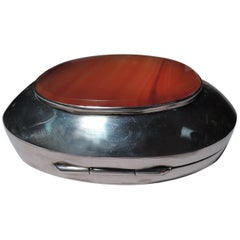 Antique English Sterling Silver and Agate Box