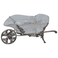 Antique English Sterling Silver and Crystal Wheelbarrow Centerpiece by Comyns