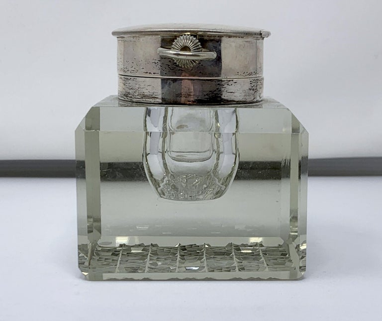 Wonderful antique English sterling silver and cut crystal watch-clock inkwell, Circa 1910.