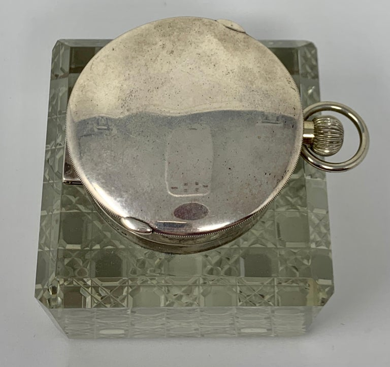 Early 20th Century Antique English Sterling Silver and Cut Crystal Watch-Clock Inkwell, Circa 1910 For Sale
