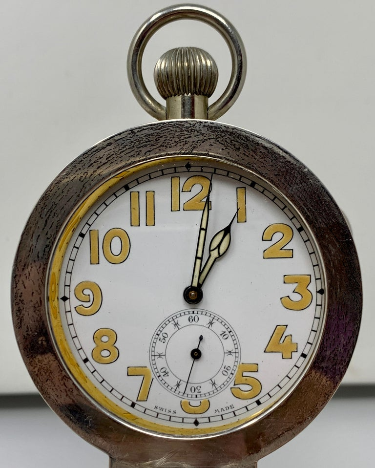 Antique English Sterling Silver and Cut Crystal Watch-Clock Inkwell, Circa 1910 For Sale 1