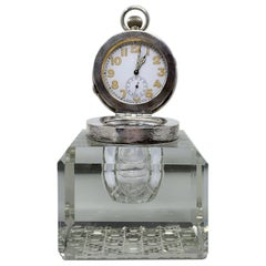 Antique English Sterling Silver and Cut Crystal Watch-Clock Inkwell, Circa 1910