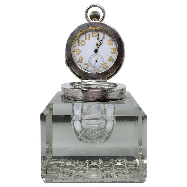 Antique English Sterling Silver and Cut Crystal Watch-Clock Inkwell, Circa 1910 For Sale
