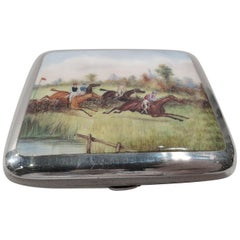 Antique English Sterling Silver and Enamel Steeplechase Cigarette Case