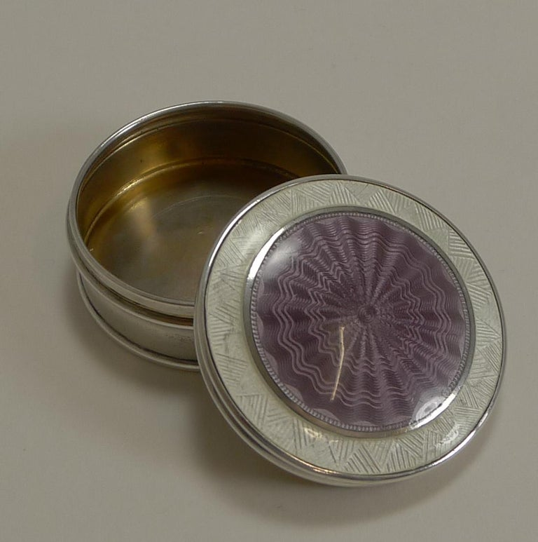 Antique English Sterling Silver and Guilloche Enamel Pill Box, 1911 For Sale 1